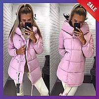 Женская зимняя удлинённая куртка пуховик зефирка синтепон олива, черный, мята, розовый бордо 42 44 46