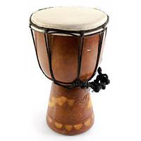 Барабан джембе різьблений дерево зі шкірою (20х11х11 см)