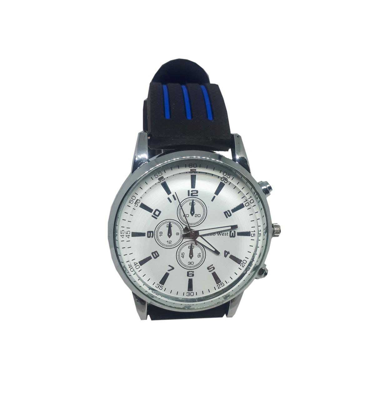 Часы  мужские Camilo West на силиконовом ремешке. Синий