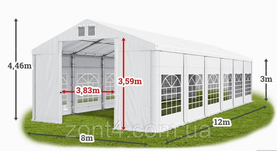 Шатер 8х12х3 метра ПВХ 560г/м2 с мощным каркасом под склад, гараж, палатка, ангар, намет, павильон садовый