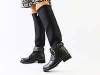 Женские демисезонные черные сапоги, кожа и обувной стрейч 36