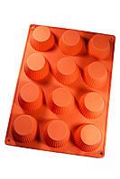 Силіконова форма для випічки кексів на 12 осередків