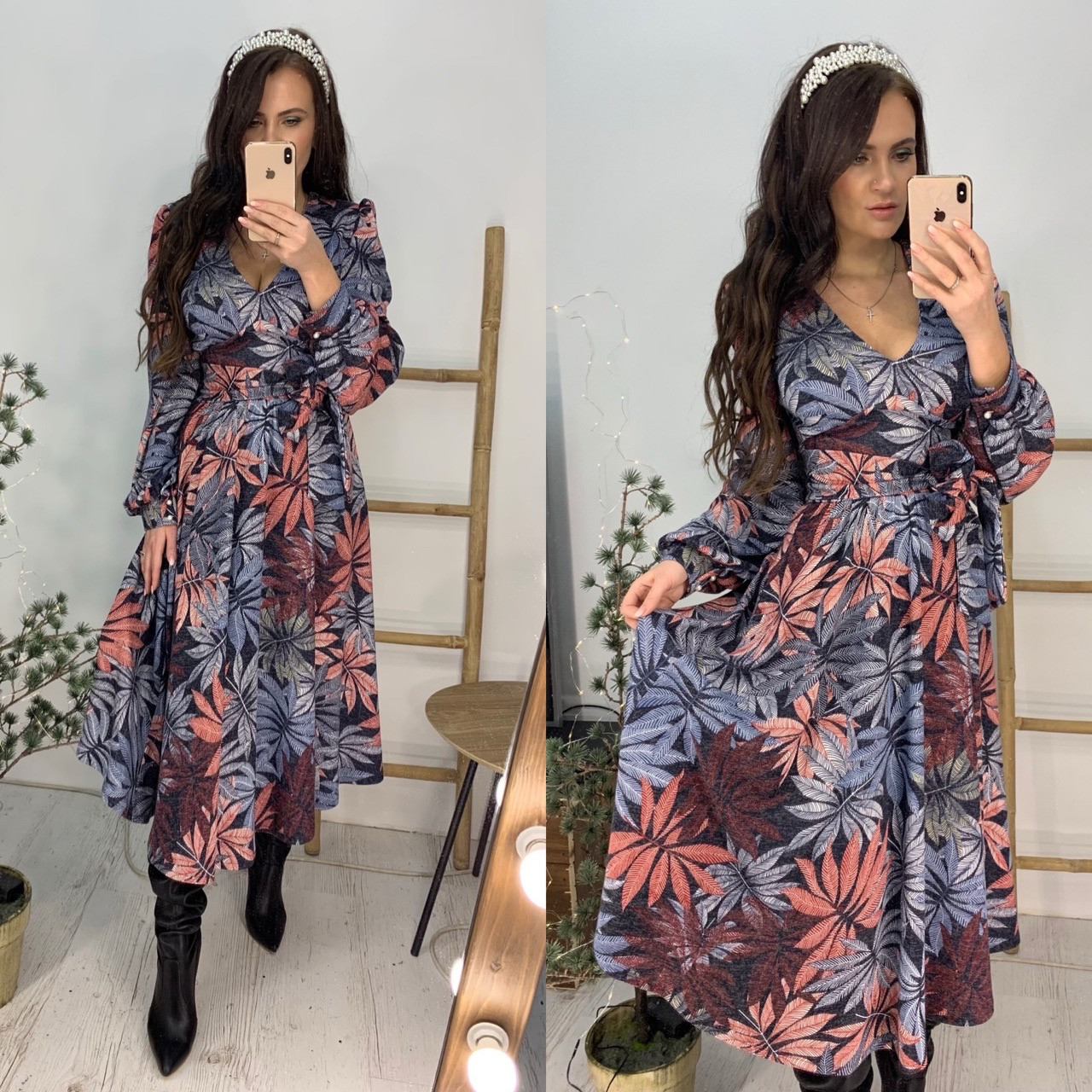 Трикотажное принтованное платье - рубашка длиной миди с вырезом декольте vN5980