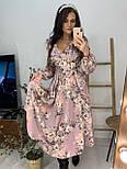 Трикотажное принтованное платье - рубашка длиной миди с вырезом декольте vN5980, фото 2
