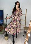 Трикотажное принтованное платье - рубашка длиной миди с вырезом декольте vN5980, фото 4
