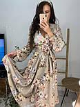 Трикотажное принтованное платье - рубашка длиной миди с вырезом декольте vN5980, фото 5