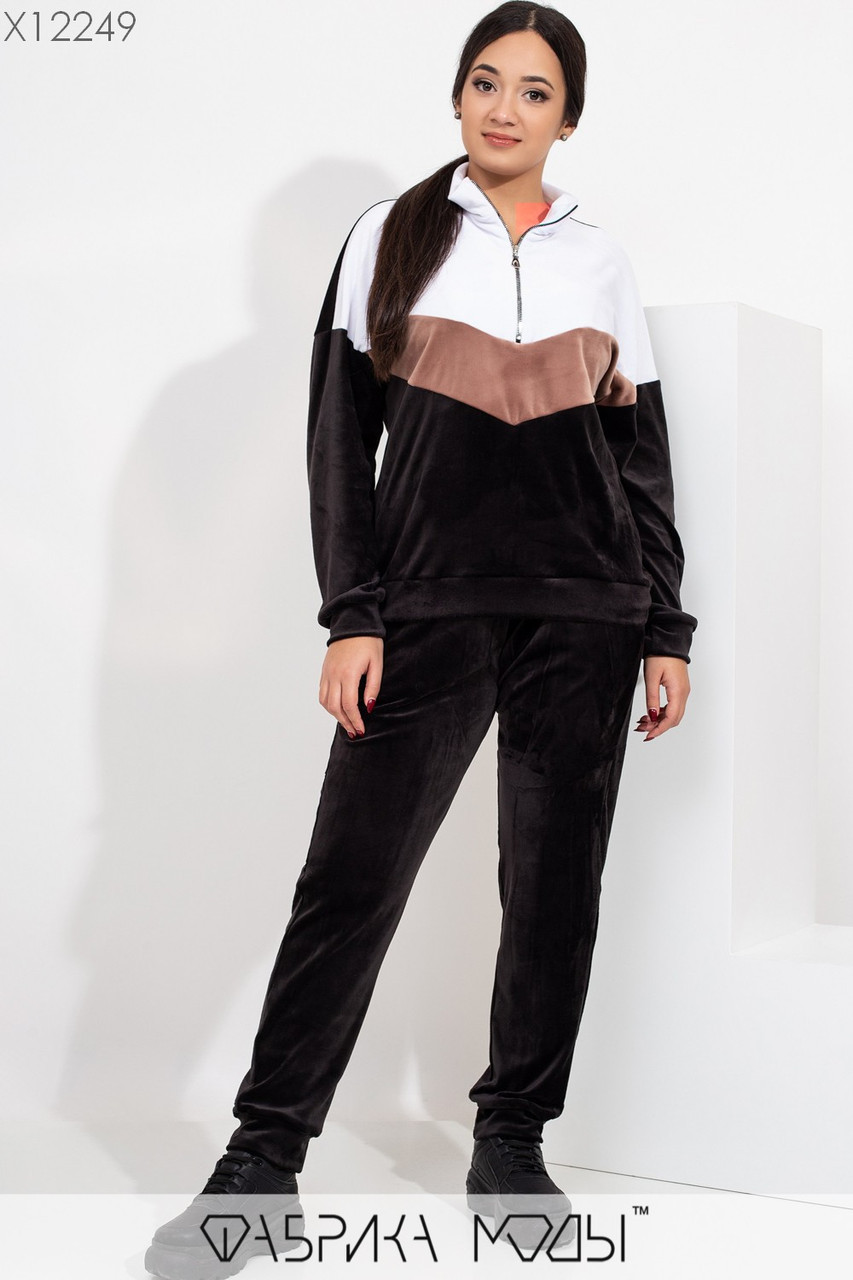 Велюровый женский спортивный костюм в больших размерах с молнией на груди vN6011