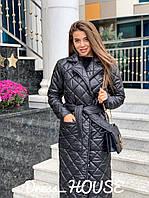 Стильное женское пальто, стеганое, черное, 913-026-5