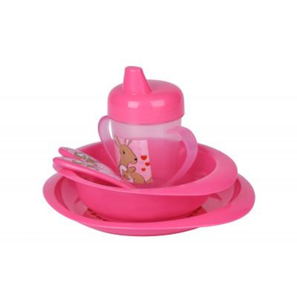 Набор детской посуды Nuvita 12м+ Розовый 5 предметов (NV1495Pink)