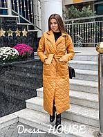 Стильне жіноче пальто, стьобана, жовте, 913-026-44