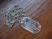 Армейский жетон алюминий 45х26х1,5