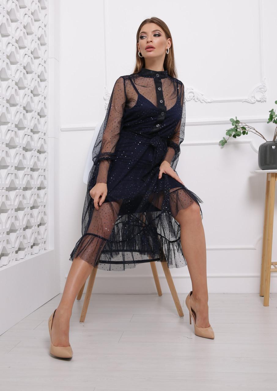 Сукня з шифону на підкладі з розкльошеною спідницею міді vN6039