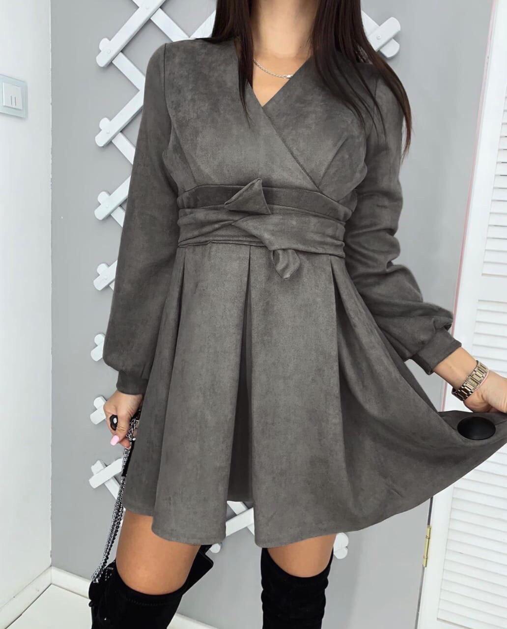 Платье женское замшевое чёрное, графит