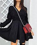Сукня жіноча замшеве чорне, графіт, фото 3