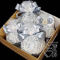 Кулі новорічні ручної роботи в коробці 2 великі 10см і 2 середніх 8 см