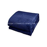 Покрывало плед полоска Шарпей Евро 200х230 см Синий