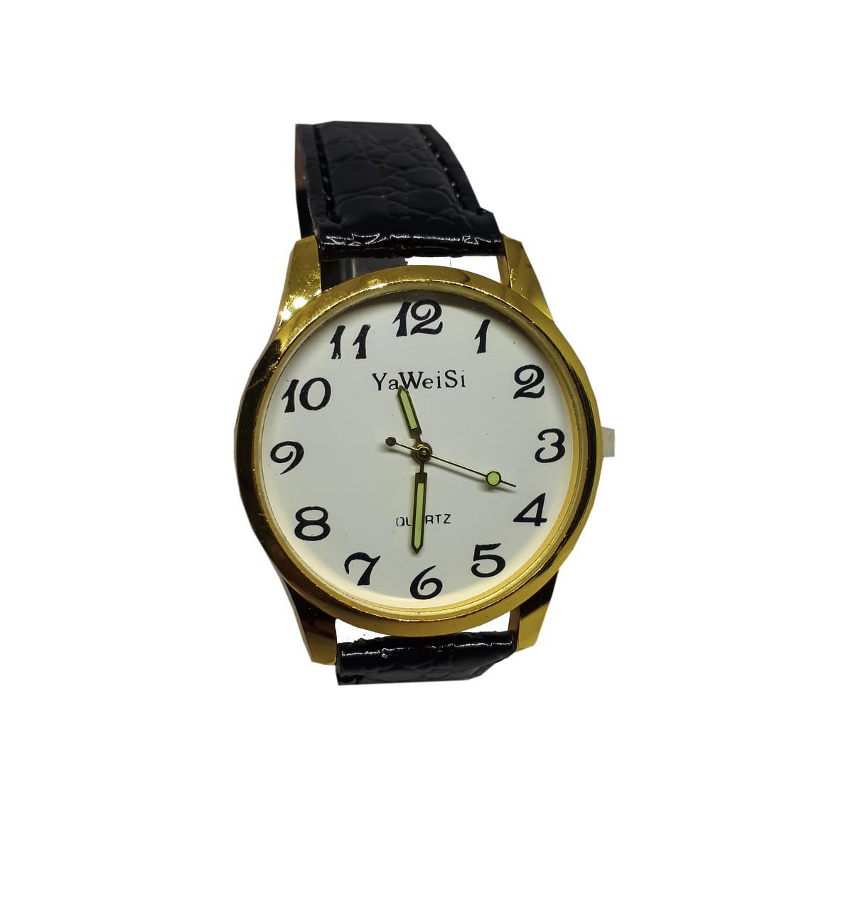 Часы YaWeiSi мужские кварцевые на черном ремешке золотистый, белый