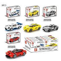 Конструктор Senco Sport Car 607025-28 9бокс по 8шт3183-205 дет,р-р 1 констр 25,5*18,8*5,5см