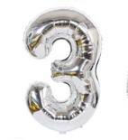 Шарик -цифра, фольгированный, 45 х 29 см, цвет серебро