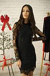Кружевное платье - фуляр на подкладе с длинным рукавом vN6079, фото 4