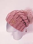 Вязаная женская шапка крупной вязки с подворотом и бубоном vN6117, фото 5