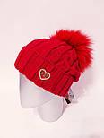 Вязаная женская шапка крупной вязки с подворотом и бубоном vN6117, фото 7