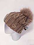 Вязаная женская шапка крупной вязки с подворотом и бубоном vN6117, фото 8