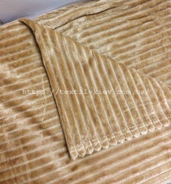 Покривало плед смужка Шарпей Євро 200х230 см Шампань