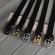 Реплика ремень Гуччи узкий, пряжка золото, серебро, бронза / натуральная кожа