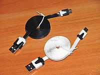 USB -microUSB шнурок плоский провод кабель 1м