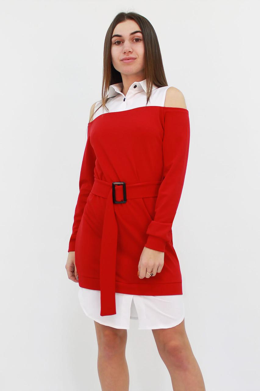 S | Комбіноване жіноче плаття Lilit, червоний