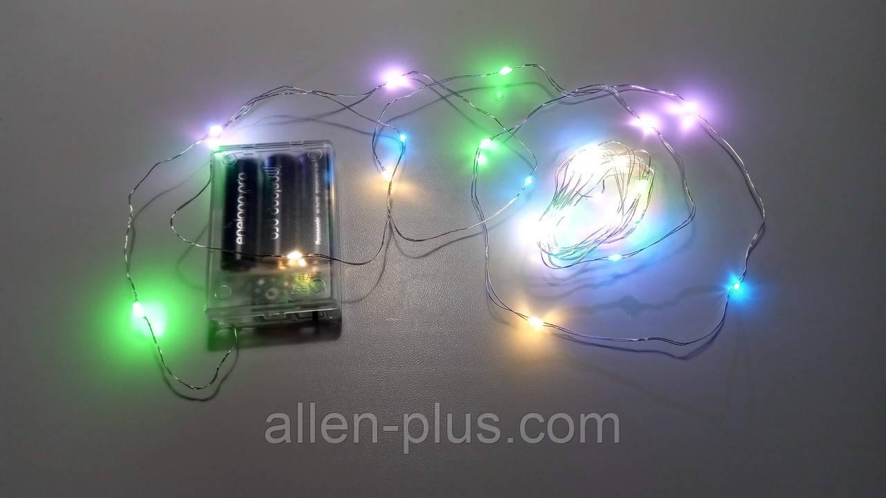 Гирлянда светодиодная RGB (LED), 10 м, с батарейками ААх3 (Гирлянда Нить на батарейках, микронить)