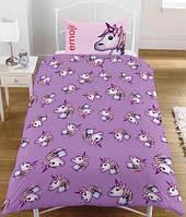 Детское постельное белье Эмоджи Единорог полуторный комплект для девочки