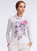 Женская трикотажная кофточка с цветочным рисунком. Модель U26 Sunwear.