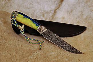 """Коллекционный нож ручной работы """"Angel of Ukraine-2"""", мозаичный дамаск, фото 2"""