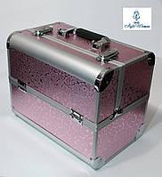 Б'юті алюмінієвий кейс валізу з ключем рожевий принт