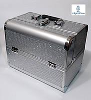Б'юті алюмінієвий кейс валізу з ключем срібло стрази гламур для майстрів