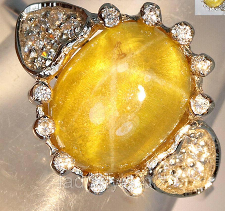 """Серебряное кольцо """"Сердечко"""" с желтым звездчатым кварцем и белыми сапфирами, размер 15.3"""