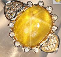 """Серебряное кольцо """"Сердечко"""" с желтым звездчатым кварцем и белыми сапфирами, размер 15.3, фото 1"""