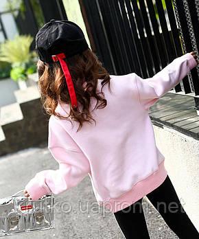 Свитшот для девочки флисовый утепленный  Ink, розовый Berni, фото 2