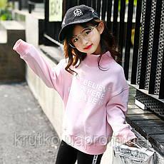 Свитшот для девочки флисовый утепленный  Ink, розовый Berni, фото 3