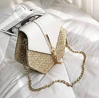 Женская сумка YUOCL плетеная из ротанга Белый