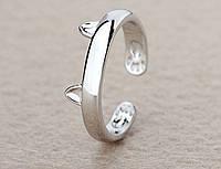 Кольцо Кошка Rinhoo 15 размер регулируемый Серебристый