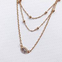 Женское многослойное ожерелье ШАРМ AILEND золотого цвета