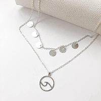 Женское многослойное ожерелье с Волной и Медальонами AILEND серебряного цвета