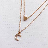 Женское многослойное ожерелье с Сердцем и Месяцем AILEND золотого цвета