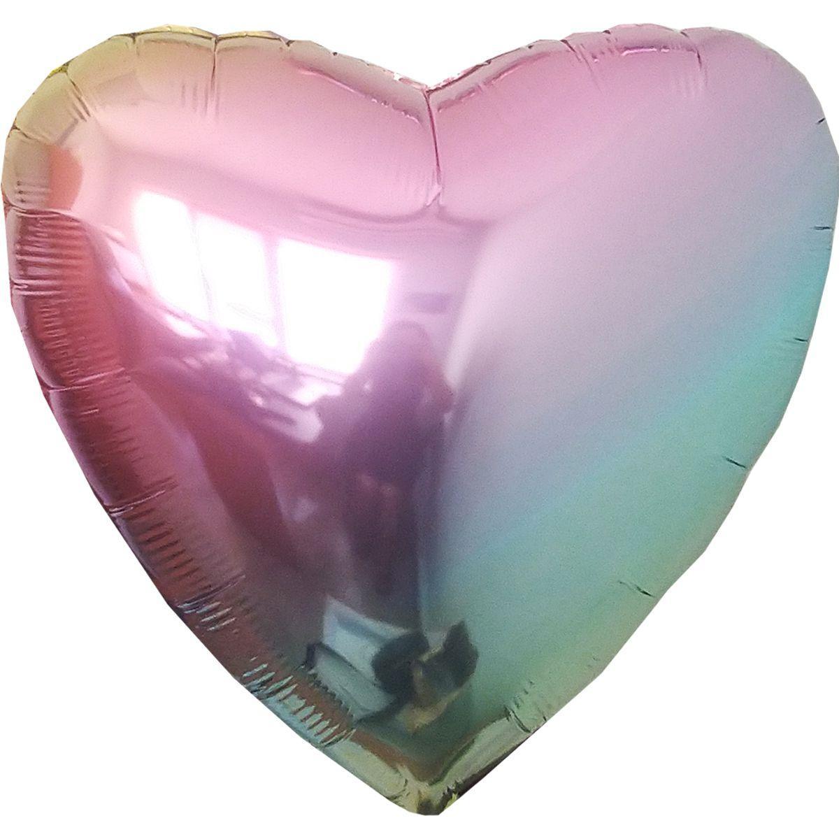 """Фольгированный шар ФМ 18"""" сердце омбре металлик жемчуг"""