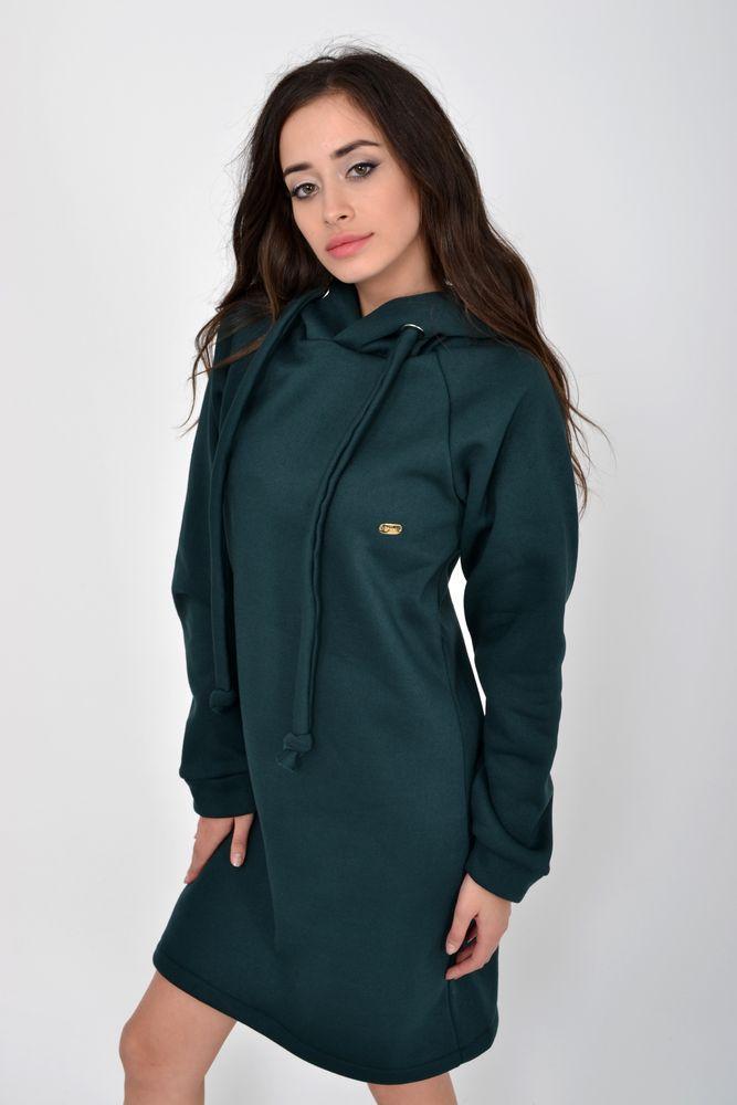 Туника женская теплая, на флисе цвет Темно-зеленый
