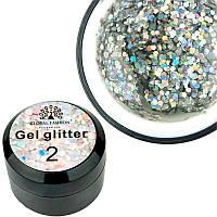Glitter Gel Global Fashion №2, 5 г серебро, фото 1