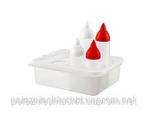 Органайзер для дозаторов-соусников с охладителем в наборе с бутылками (2 шт.=350 мл., 2 шт.=500 мл.)